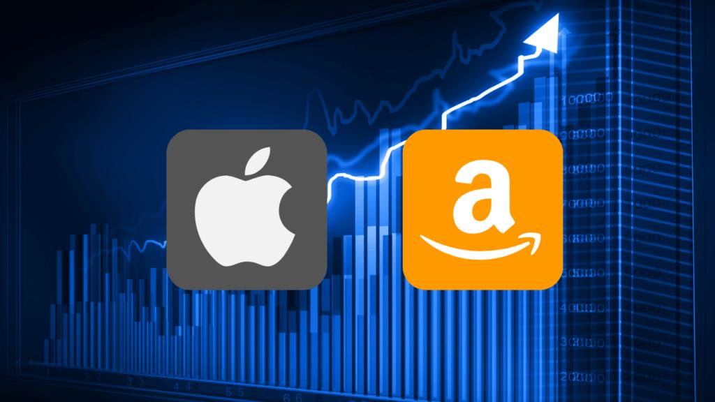急上昇しているチャートとappleとAmazonのロゴ