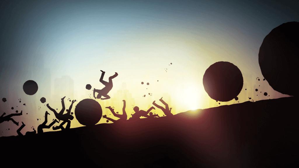 坂道を転げ落ちる投資失敗を連想させる画像