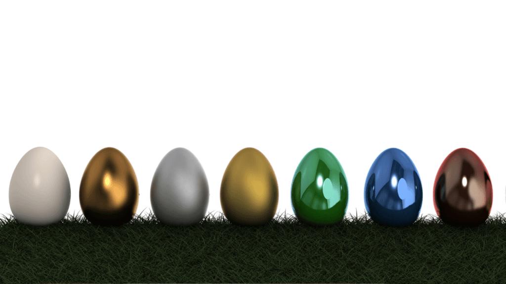 1列に並んださまざまな色の卵