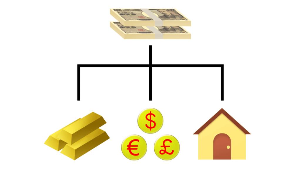 分散投資のイラスト